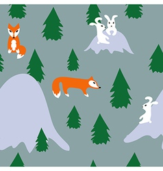 Seamless pattern with rabbits and foxes in forest vector image