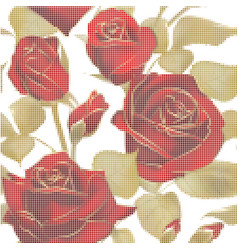 Seamless pattern with roses mosaic picture vector