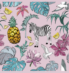 seamless pattern with summer tropical flowers vector image