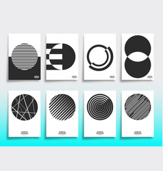 set minimal geometric design cover template vector image