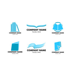 set of book logo template icon design elements vector image