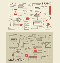 set of modern thin line marketing process vector image