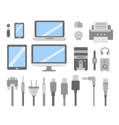 set of pc gadgets and devices flat icons vector image