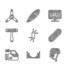 Set tool allen keys skate park skateboard helmet vector