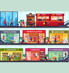 shopping center with shops showcases on floors vector image