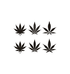 silhouette cannabis marijuana hemp leaf cbd logo vector image
