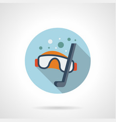 snorkeling blue round icon vector image
