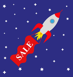 space rocket with banner sale vector image