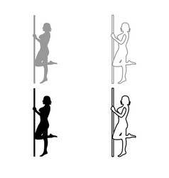 striptease performer woman on tube icon outline vector image