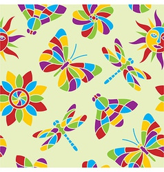 Summer mosaic seamless pattern vector image