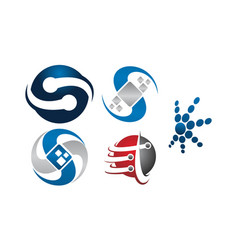 Technology connection logo set vector