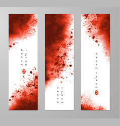 Three banners with abstract dark red ink wash vector