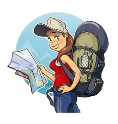 Tourist girl with rucksack vector