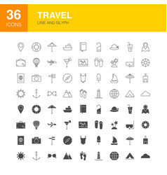 Travel line web glyph icons vector