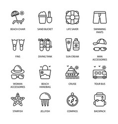 Travel vacation and famous landmarks outline icon vector