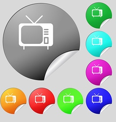 Tv icon sign Set of eight multi colored round vector