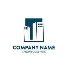 Unique building logo template vector