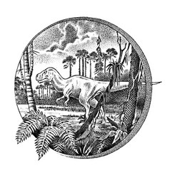 vintage landscape with a dinosaur in the vector image