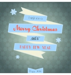 vintage ribbon Merry Christmas card vector image
