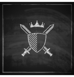 Vintage with a coat of arms on blackboard vector