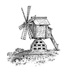 windmill landscape in vintage retro hand drawn vector image