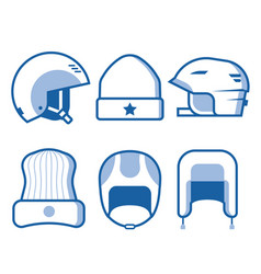 Winter sports head wear line icons vector
