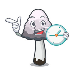 With clock shaggy mane mushroom character cartoon vector