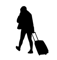 woman silhouette with trolley vector image