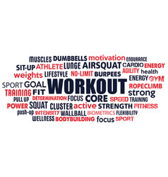 workout word cloud concept text is outline vector image