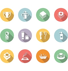 babys things icon set color with long shadow vector image