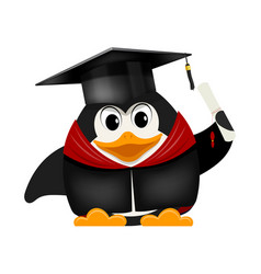 cartoon image of a young young penguin graduate vector image vector image