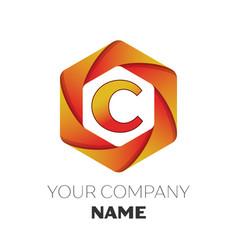 letter c logo symbol on colorful hexagonal vector image