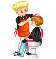 little boy getting haircut at barber vector image vector image