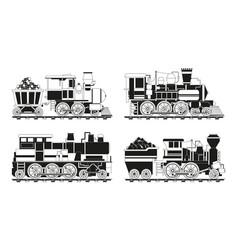 monochrome pictures of vintage trains vector image