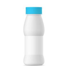 realistic yogurt bottle with blue cap vector image