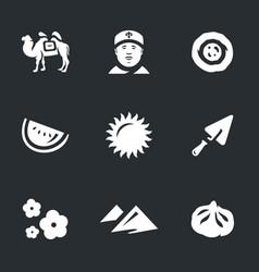 set of uzbekistan icons vector image vector image
