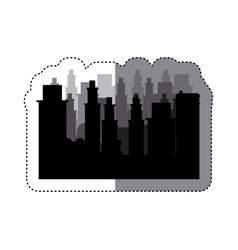 sticker frame silhouette cityscape scene night vector image