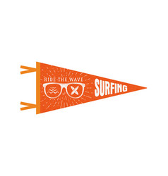 surfing pennant summer pennant flag design vector image vector image