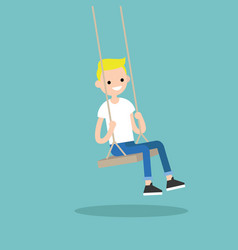 young blond boy sitting on the swing editable vector image vector image