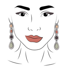 A girl in jewels silver earrings with gray and vector