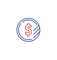 dollar sign coin icon financial currency exchange vector image