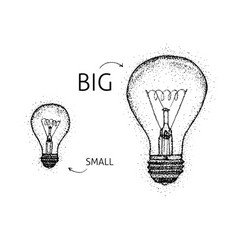 dotwork big small lightbulbs vector image