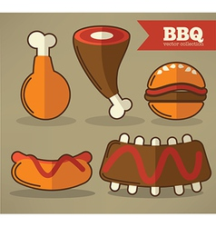 flat bbq collection vector image vector image
