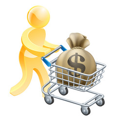 money shopping cart trolley person vector image