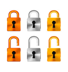open and closed locks made from copper silver and vector image