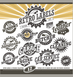 retro labels and stickers collection vector image vector image