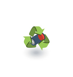 Used batteries with green recycling symbol vector