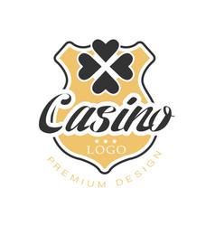 casino logo premium design vintage gambling badge vector image vector image