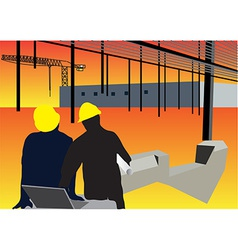 Construction workers background vector image