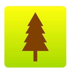 new year tree sign brown icon at green vector image